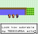 A screenshot from the game Pokemon Crystal. A trainer is telling the player 'Look how adorable my TEDDIURSA acts'!